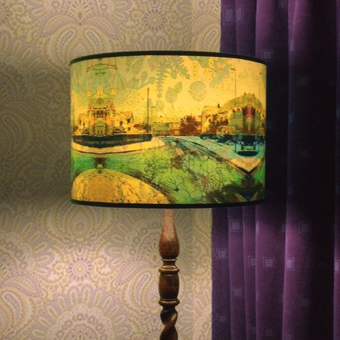 Buddleia of suburbia large handmade lampshade with original digital artwork