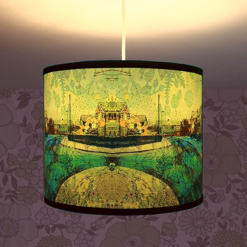 Buddleia of Suburbia - Handmade Lampshade with original digital artwork (for pendant light fitting uk and europe)