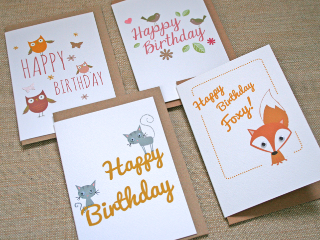 4 Pack Animal Greetings Cards