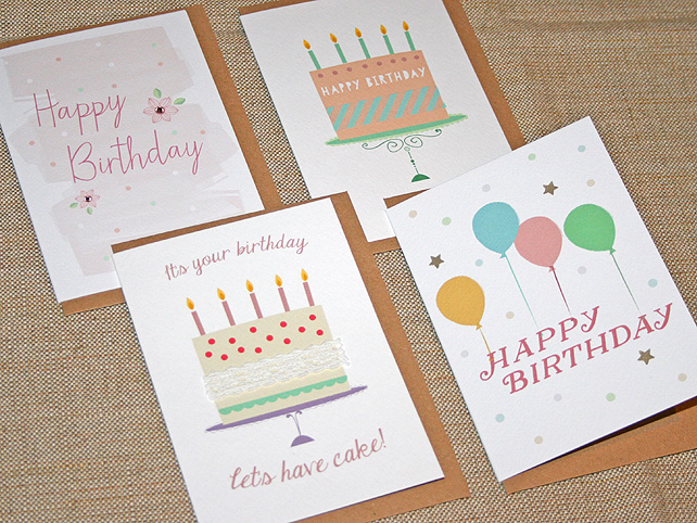 Pack of 4 Party Birthday Cards