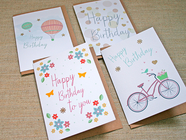 Pack of 4 Cute Summery Birthday Cards