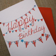 Union Jack Bunting Birthday Card