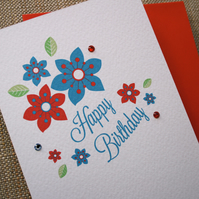 Red White & Blue Floral Birthday Card