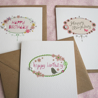 Pack of 3 Birthday Cards - Decorative Frame Range (codeB4)