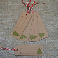 Pack of 5 Christmas Tree Gift Tags (Code T4)