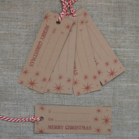 Pack of 5 Christmas Stars Gift Tags (Code T3)