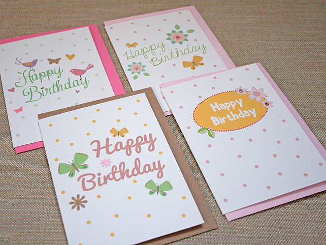 Pack of 4 Polka Dot Birthday Cards
