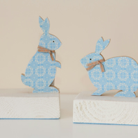 wooden Rabbit Bookends