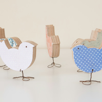 Wooden Birds - Little wren, blackbird, thrush.