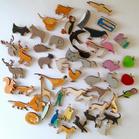 wooden Laser Cut Brooches