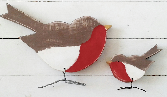 Large Wooden Robin