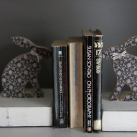 Wooden Hare Bookends
