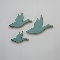 Wooden Flying Ducks (Set 3)