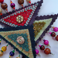 Felt and Wooden Bead Embroidered Brooch