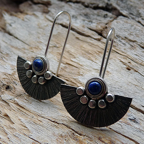 Sterling Silver Earrings with Lapis Lazuli, W1
