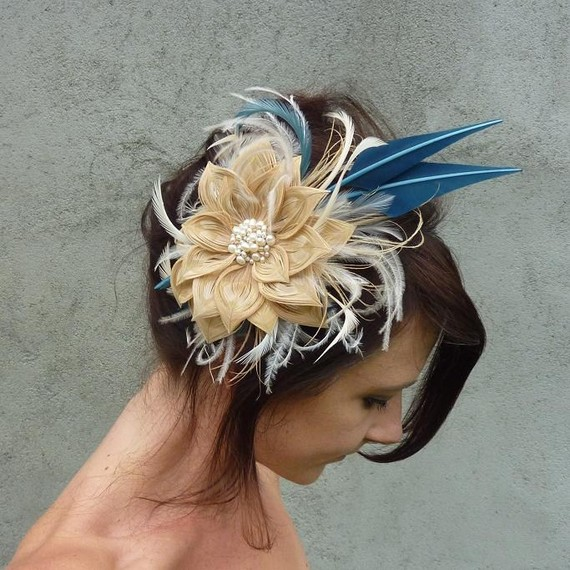 Blue Ivory Champagne Peacock Feather Bridal Flower Fascinator with Pearls