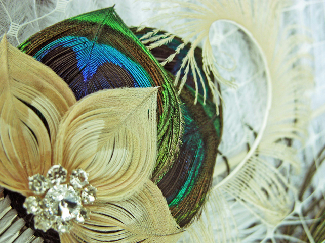 Champagne & Peacock feather fasciantor comb - True Love