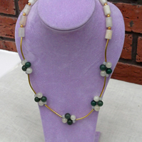 Aventurine and Onyx Necklace,  White and Green Necklace, Gemstone Necklace