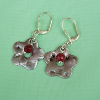 Carnelian Earrings with silver flowers, Gemstone Earrings, Flower earrings