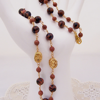 Gemstone necklace, Goldsand Necklace, Gold and Brown Necklace, Handmade Jewelry