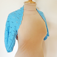 Hanknitted Women Bolero, Lace Bolero, Shrug, Blue Bolero, Wool Bolero