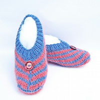 Hanknitted Women Slippers, Short Socks, Striped Slippers, Women Slippers