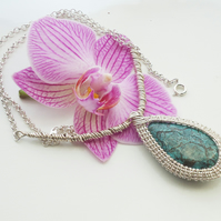 Chrysocolla Wire Wrapped Pendant, Wire Wrapped Necklace, Blue Necklace