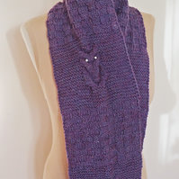 Knitted Scarf, Owl Knitted Scarf, Owl Scarf in Purple