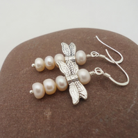 Dragonfly Pears Earrings, Dragonfly Peach Pearls Earrings, Sterling Silver
