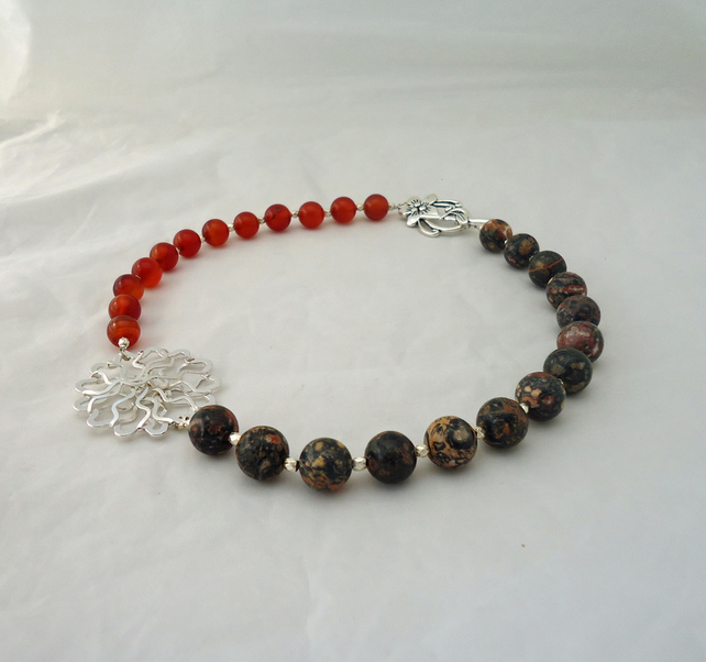 Carnelian and Jasper Necklace, Handmade Carnelian and Jasper Necklace, Statement