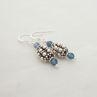 Blue Crystal and Silver Tube Earrings, Blue Earrings, Charm Earrings