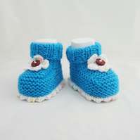 Handknitted Baby Booties, Cute Baby Booties, Baby Booties, Aqua Blue and White