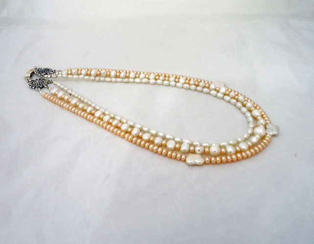 Pearls Multistrand Necklace, Statement Pearls Necklace, White and Peach Pearls