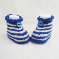 Babies Booties, Sailor Booties, White and Blue Cute Bootis