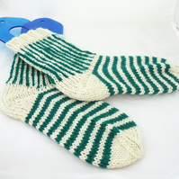 Wool Socks, Striped Socks, White and Aqua Blue Socks, Women socks, Boot socks