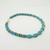 Howlite Necklace with Gold Disk, Blue and Gold Necklace, Gemstone Necklace