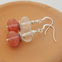 Clear and Cherry Quartz Earrings, Quartz Dangle Earrings, Clear and Pink Earring