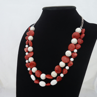 Coral Necklace, Double Strand Coral Necklace, Statement Coral Necklace