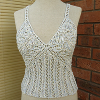 Handknitted Women Lace Top, Summer Tank, Blue, White and Yellow Top, Bikini