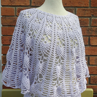 Crochet Women Lace Summer Top, Crochet Poncho with Sleeves, Lavander Capelet