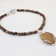 Tiger Eye Necklace With Wire Wrapped Pendant, Wire Wrapped Necklace,Gemstone