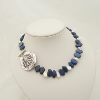 Lapis Lazuli and Pearls Necklace, Short Lapis Lazuli Necklace