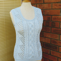 Blue Summer Top, Baby Blue Summer Tank Top, Women Summer Jumper, Handknitted Top