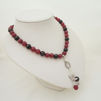 Garnet and African Ruby Necklace, Garnet and Ruby Necklace with Pendant