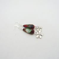 Gemstone Earrings, Multicolour Gemstone Earrings, Drop Earrings, Red, Green,Blue