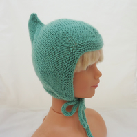 Baby Pixie Hat, Elf Baby Bonnet, Handknitted Baby Hat, Kids Pixie Helmet in Mint