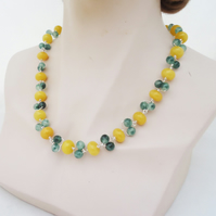 Jade and Quartz Necklace, Jade and Quartz Wire Wrapped Necklace, Yellow, Green