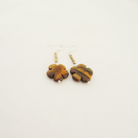 Tiger Eye and Hematite Earrings, Flower Shaped Earrings, Brown Earrings