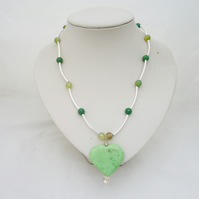 Green Jasper Heart Pendant, Jasper and Agate Necklace,Gemstone Necklace in Green