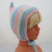 Hand knitted Baby Pixie Bonnet, Baby Pixie Hat, Baby Elf Bonnet, Toddler Hat